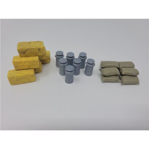Miniature farm toys - milk/cream cans, straw bales, feed bags (23 pieces)