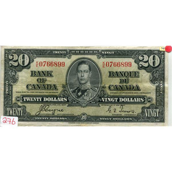 Cananda 1937 $20.00 coyne-towers V.F. cond.