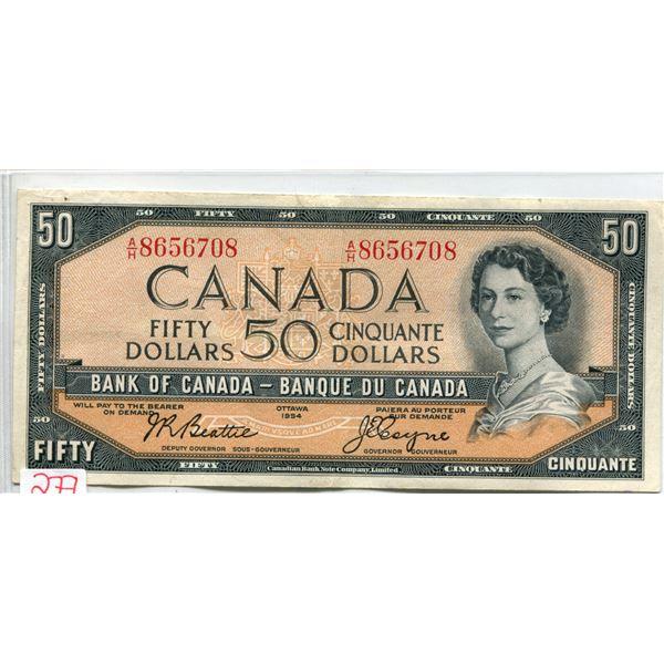 Canada 1954 $50.00 Beatie-coyne V.F. cond.