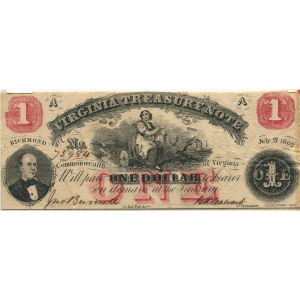 U.S. confederate Richmond Virginia treasory $1.00 note 1862 V.F. cond.