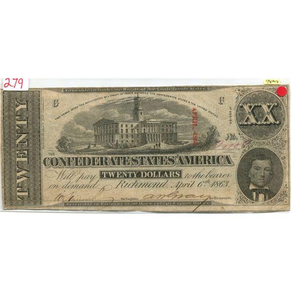 U.S. confederate Richmond APR 1863 $20.00 note V.F cond.