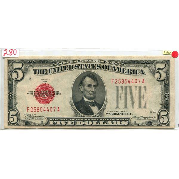 U.S. 1928 Lincoln $5.00 Red Seal V.F. cond.