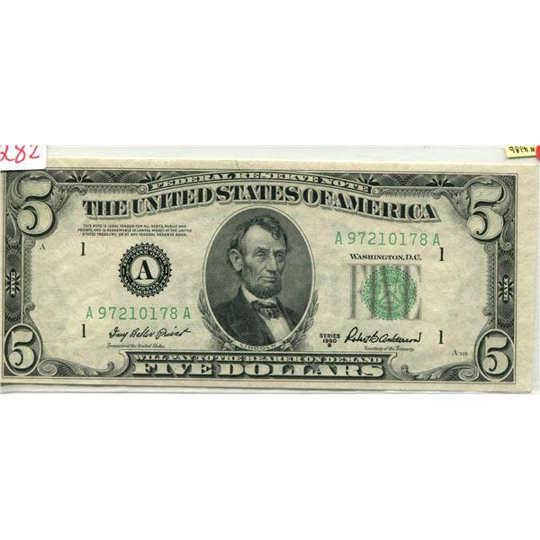 U.S. 1950 Lincoln $5.00 Black Seal mint cond.