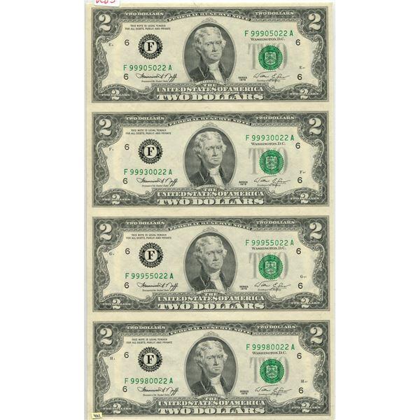 U.S. 1976 Jefferson $2.00 un-cut sheet of 4 mint cond.