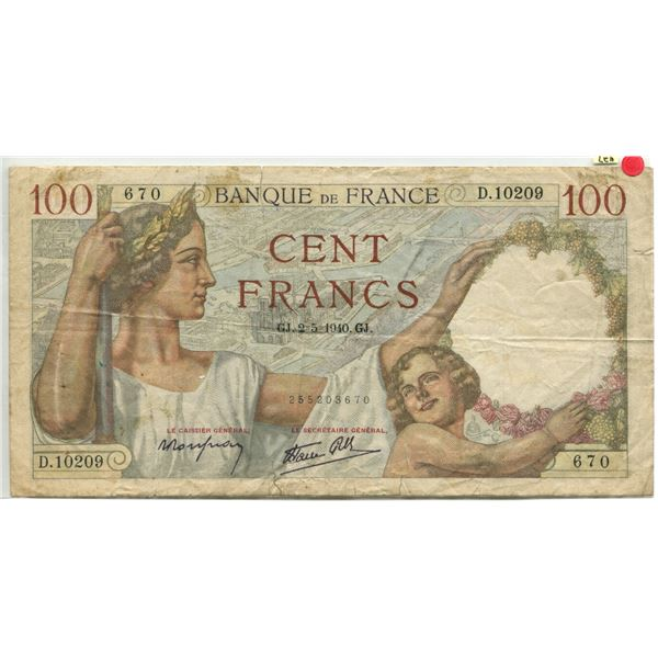 France 1939-42 100 Francs fine cond (torn see photos).