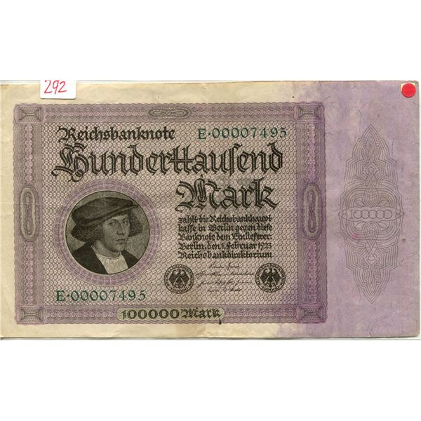 Germany 1923 replacement  note 100,000 marks V.F. cond
