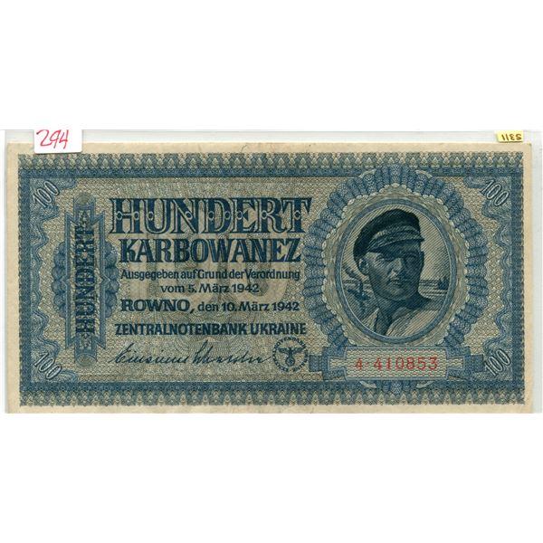 Ukraine 1942 100 Karbowanez #5311 German Eagle/Swastika mint cond.