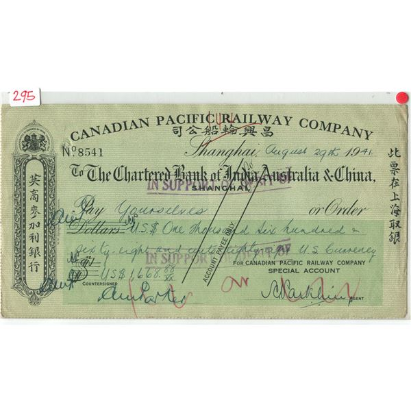 C.P. Rail cancelled cheque to chartered bank of India,Australia,&China mint cond.