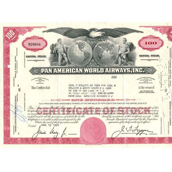 Pan-American world airways 100 dollar shares June 19,1964