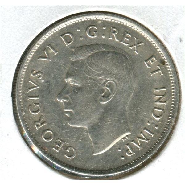 Canada 1937 half-dollar .800 silver AS.U. 50.