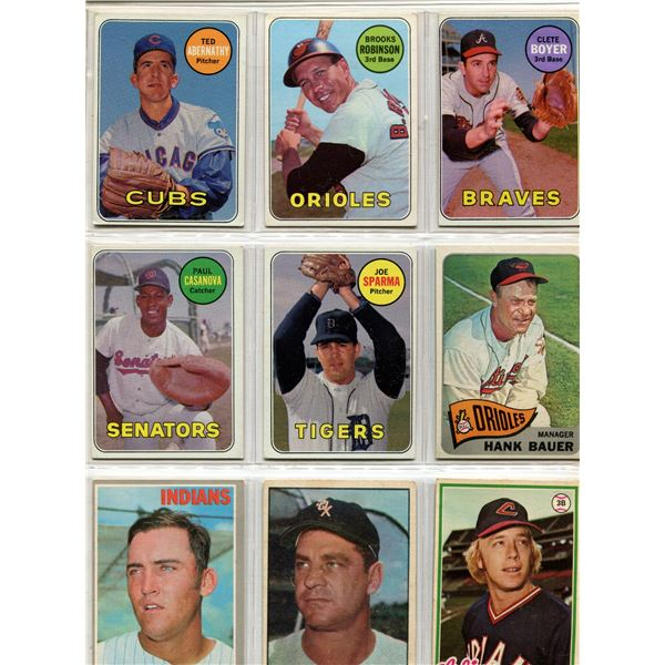 Baseball page of 9 cards from 60's era