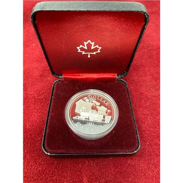 """1981 Canadian Silver Dollar """"Railway Train"""""""