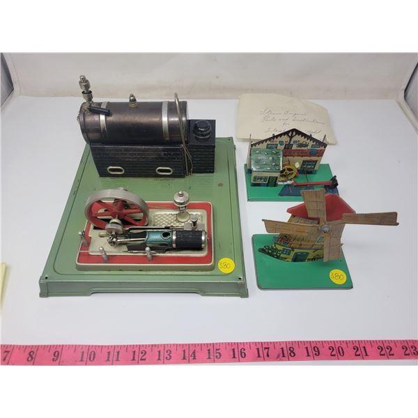 Fleichmann's model steam engine with 2 accessories to run (windmill & water wheel) *missing smoke st