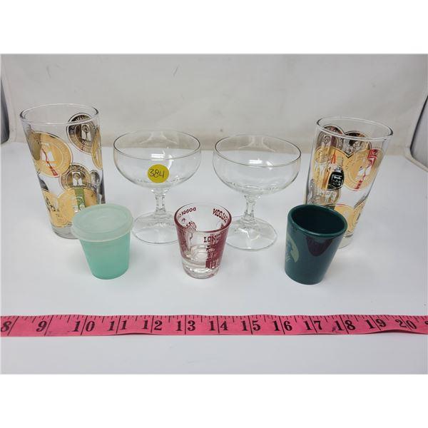 2  glass Saskatchewan Diamond Jubilee drinking glasses, one fair, one excellent condition; 2 glass s