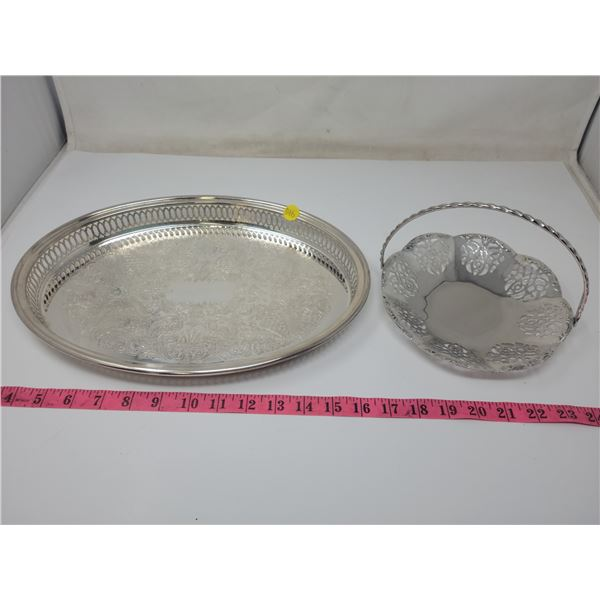 """Silverplate tray, Oval 14"""" long & 1.5"""" deep- Rogers and silverplate candy dish with handle. 7.5"""" wid"""