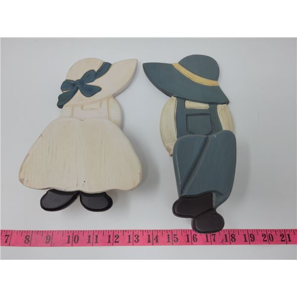 """Wooden boy & girl shelf sitters or wall hangings. 11"""" & 10"""" tall respectively (sit on edge of shelf)"""