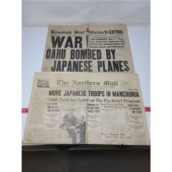 2 old, maybe incomplete fragile newspapers on war in Manchuria 1931 & Pearl Harbor attack