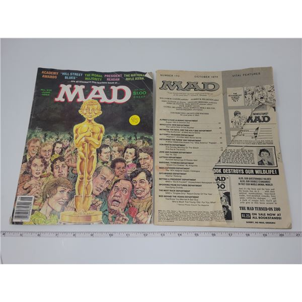 Two MAD magazines, June 1982 & Oct 1974 missing cover, one torn page