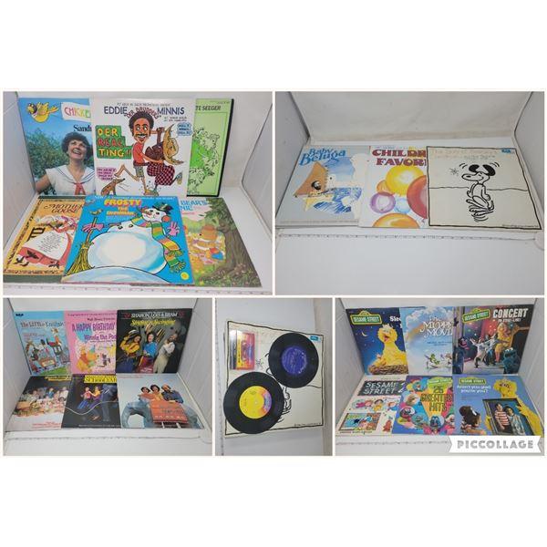 23 Single/double children's LPs (5 Sesame, 4 Sharon Lois & Bram etc) 2- 45's, 1 Disney tape