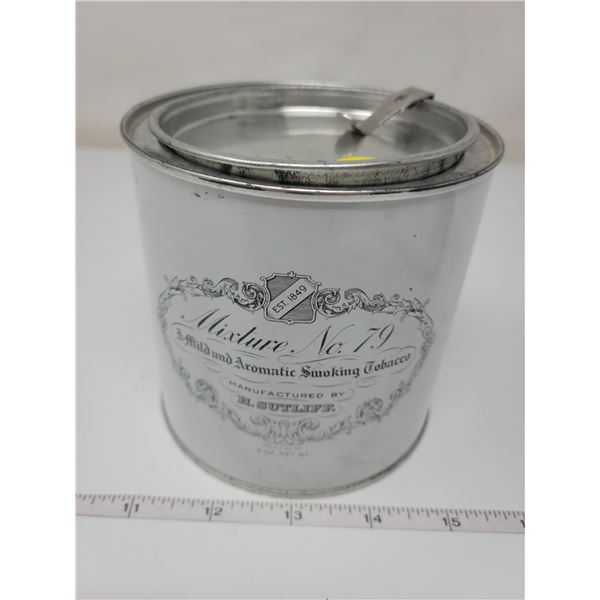 """Small tobacco can with attached lid opener, about 4"""" X 4"""""""