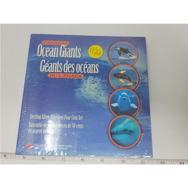 Sealed sterling silver four coin set - Ocean Giants