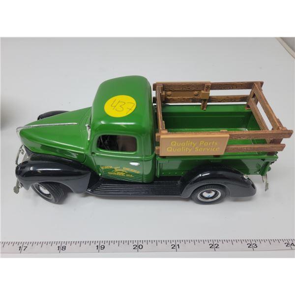 "John Deere Ford truck, ltd edition.back top & tail gate open, 7"" long X 3.4"" wide."