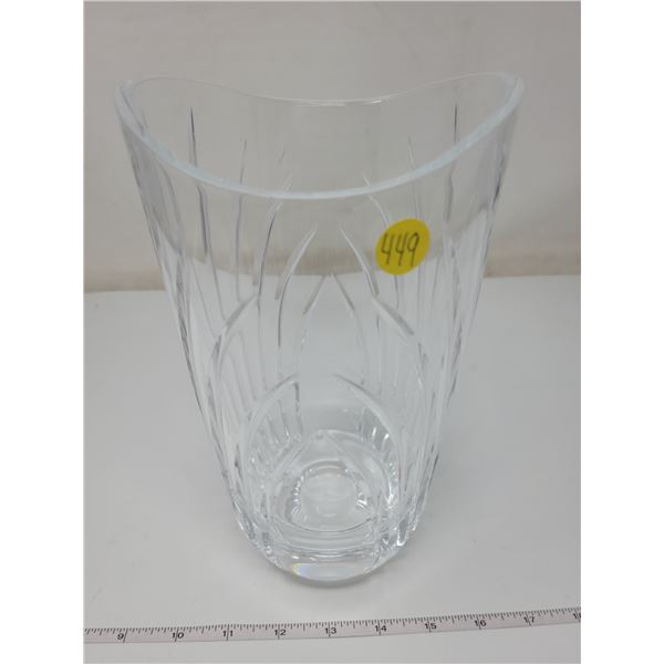 """Crystal vase, 9.5"""" tall, 4.5"""" wide on top"""