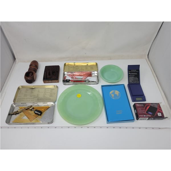"""large vintage lot with Fire King dish 4.5"""", nutcracker, battery operated digital scale, travel diary"""