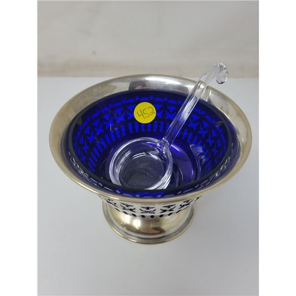 "Sterling silver container with dark blue glass serving dish & spoon. 5"" X 3.5"""