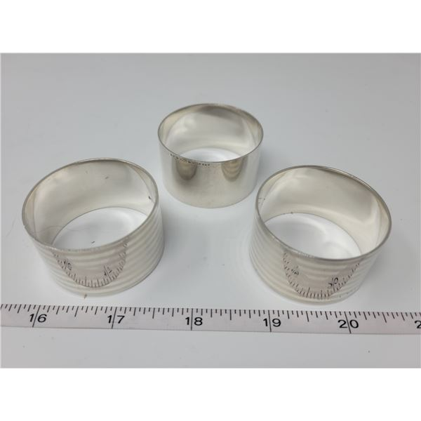 2 Sterling stamped napkin holders, one silver color metal napkin holder.