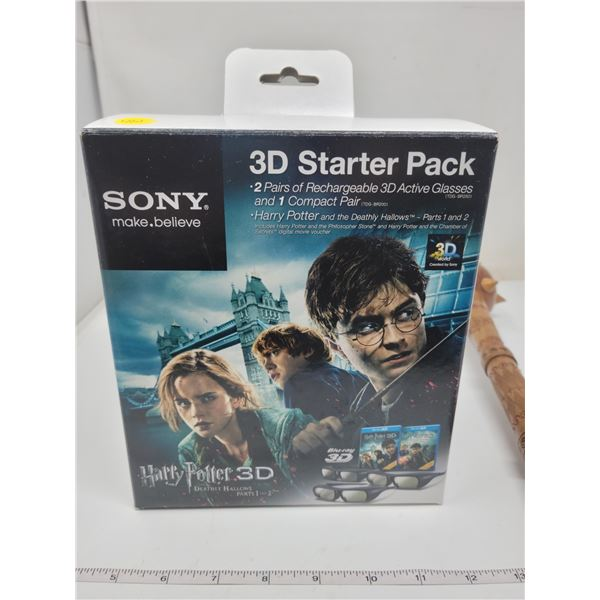 Sony 3D starter pack: 2 pairs active rechargeable 3D glasses & 1 compact pair. Harry Potter part 1 a
