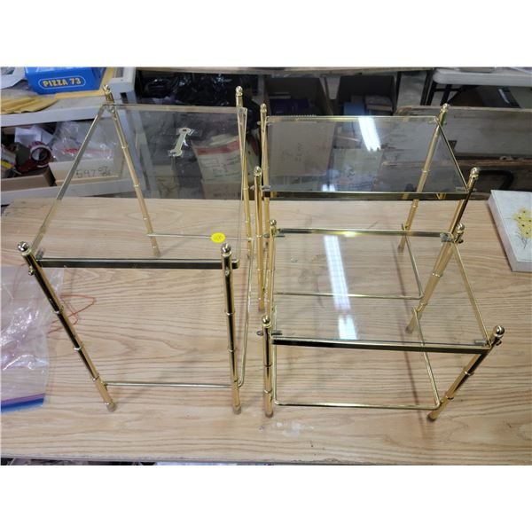 3 small glass & brass stacking tables with wrench. Smallest table has some corner damage.