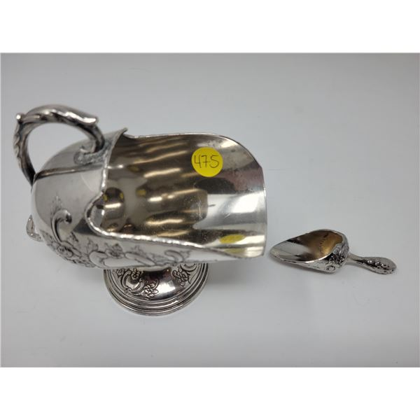 Raimond silverplate tilted ice container/serving bowl/sugar bowl with small serving scoop