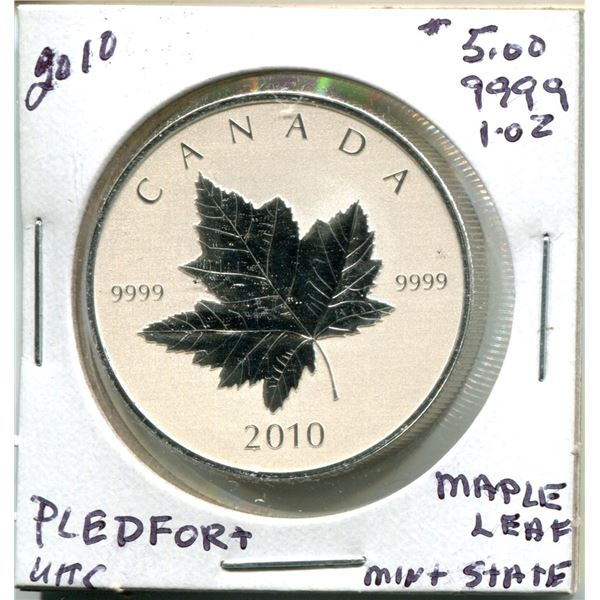2010 $5.00 Pledfort Maple Leaf .9999