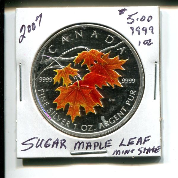 2007 $5.00 Sugar Maple Leaf .9999