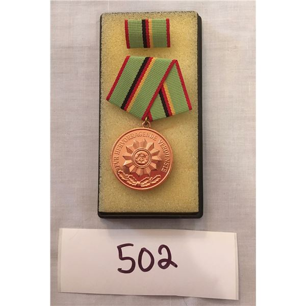 502 - Cold War East German Military medal, With box