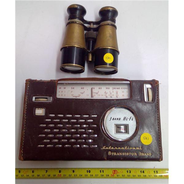 1 Vintage Radio & Binoculars