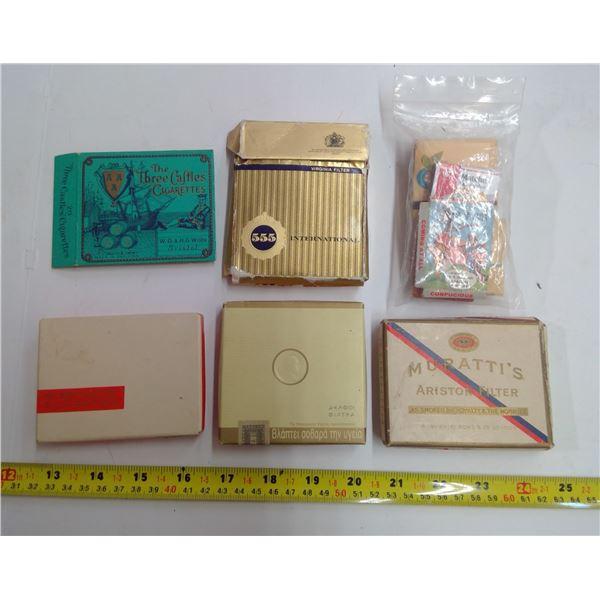 Vintage Empty International Cigarette Packs & Matches