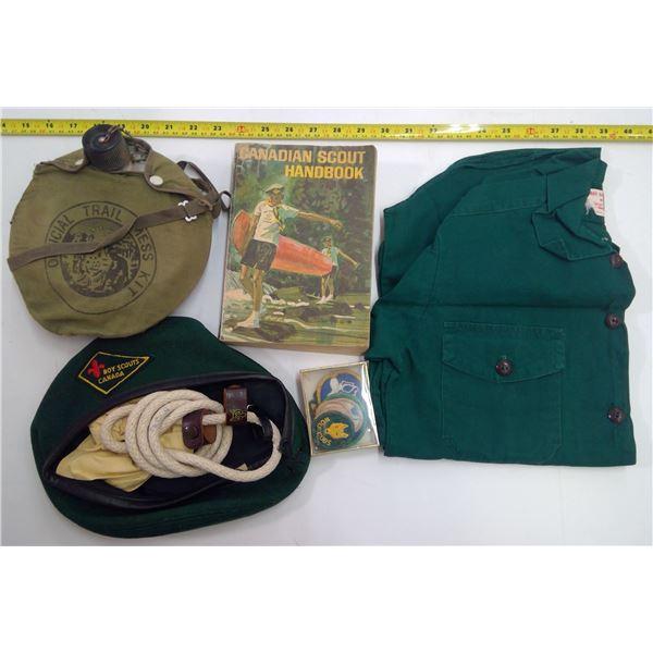 1960's Canadian Boy Scouts Lot - Shirt, Cap, Handbook, Badges, Canteen & Neckerchief