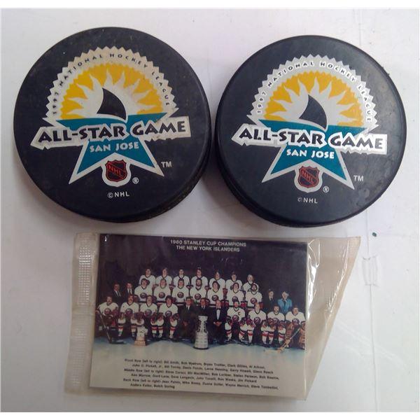 1997 NHL All Star Game Pucks & Card