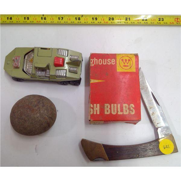 Stainless Pocketknife, Matchbox Car, Rock & Flash Bulbs