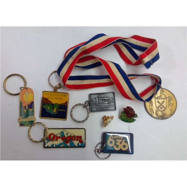 Lot of Assorted Keychains & Pins, Etc.