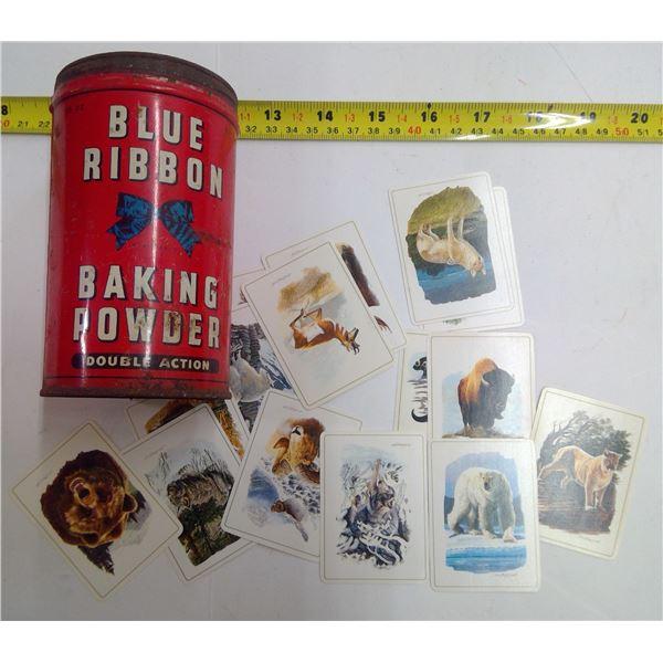 Blue Ribbon Tin with Vintage Sportsman Cigarette Wildlife Cards