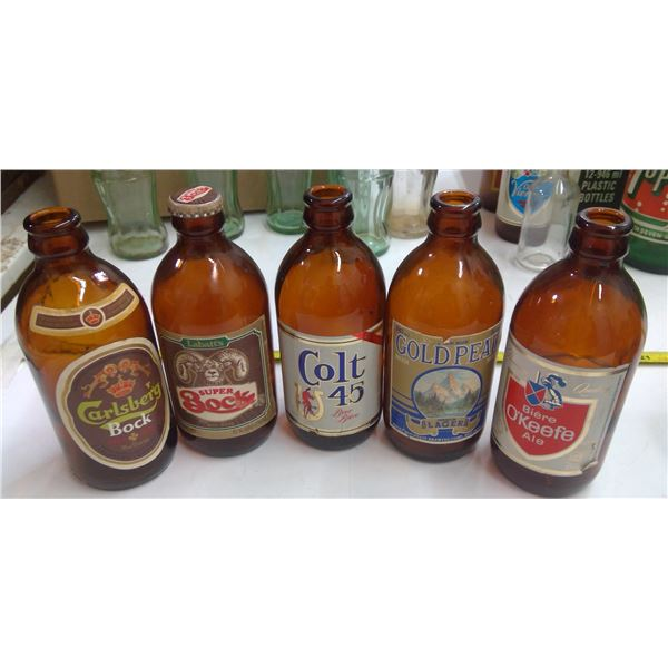 Lot of Old Glass Bottles - Beer Stubbies