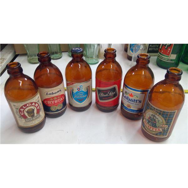 Lot of Old Glass Bottles - Beer