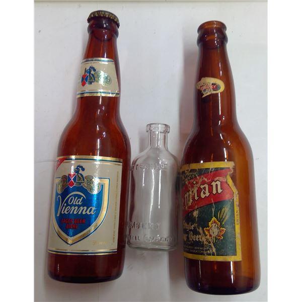 Lot of Unique Glass Listerine Bottle & 2 Beer Bottles