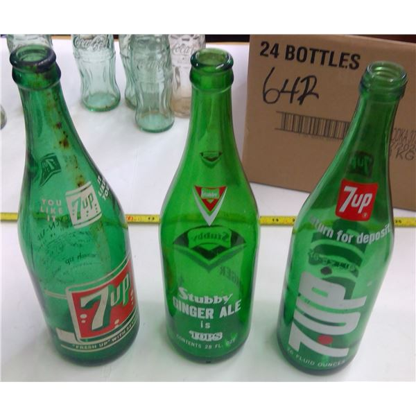 Lot of 3 Large Green Bottles - 7-Up & Stubby