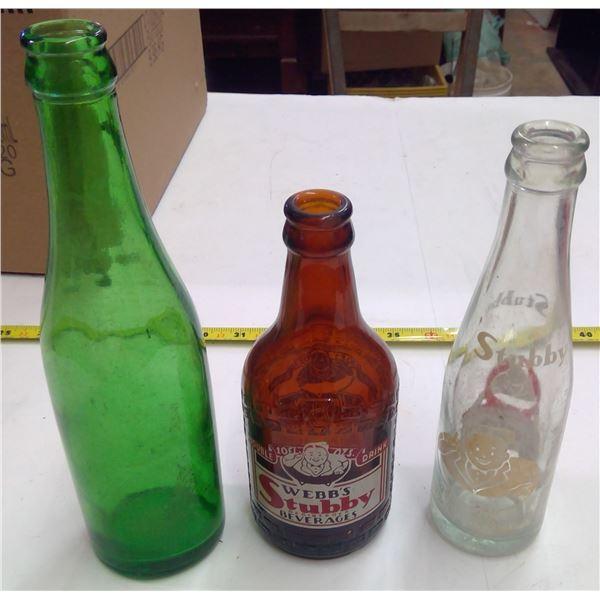 Lot of 3 Small Glass Bottles -  2 -Stubby & 1-Green