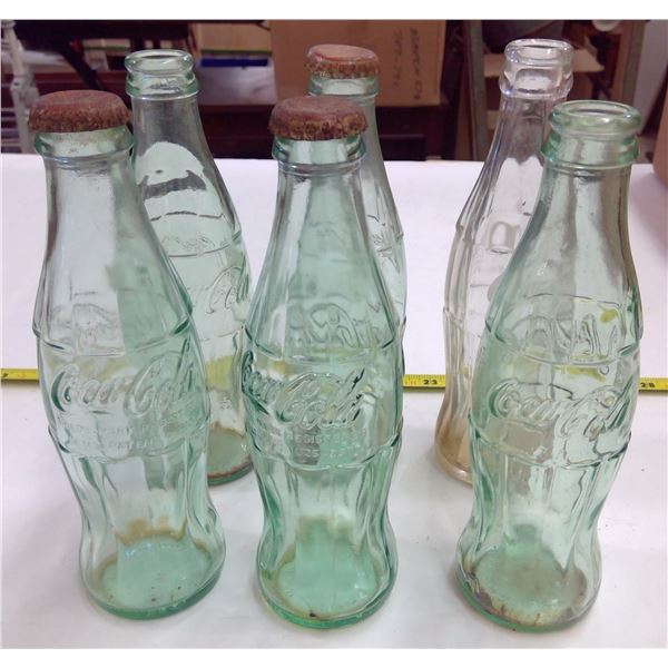 Lot of 6 Coca Cola Bottles - Small
