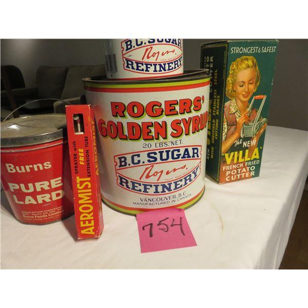 Three Roger's syrup pails, Burns lard tin,  empty chipper box (good display)